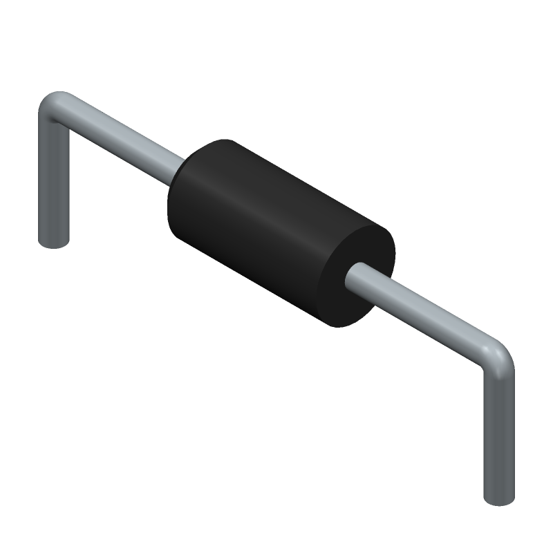 ON Semiconductor 1N4148 (Diodes, Axial Diameter Horizontal Mounting) 3D model isometric projection.