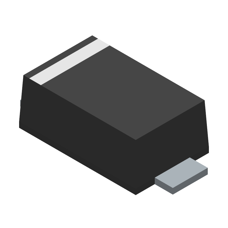 ON Semiconductor SS14FL (Small Outline Diode Flat Lead) 3D model isometric projection.
