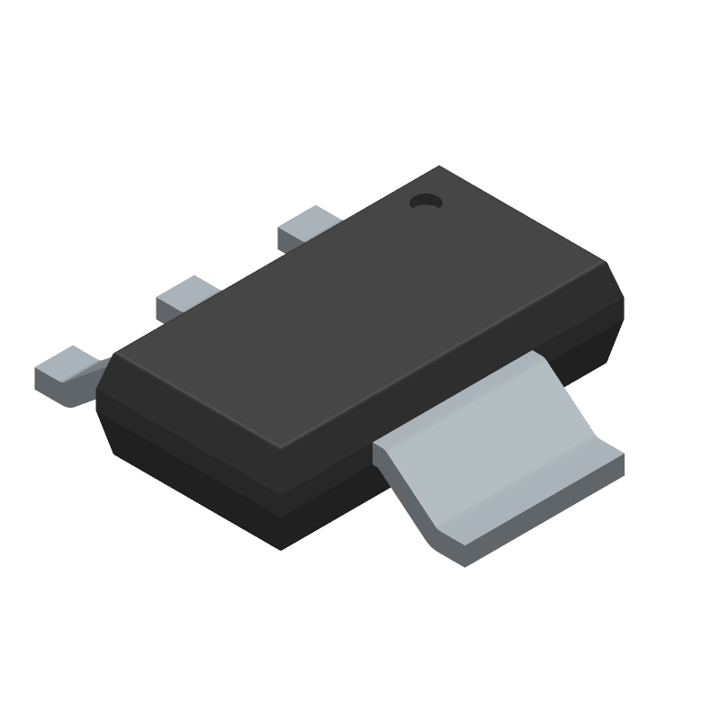 STMicroelectronics LD1117S33TR (SOT223 (3-Pin)) 3D model isometric projection.