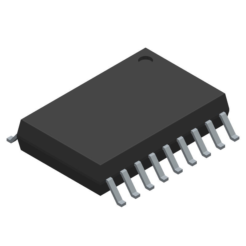 Microchip MCP2515-I/SO (Small Outline Packages) 3D model isometric projection.