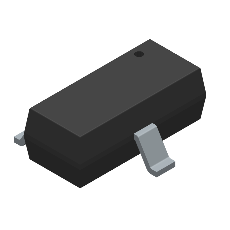 ON Semiconductor MMBT3904LT1G (SOT23 (3-Pin)) 3D model isometric projection.