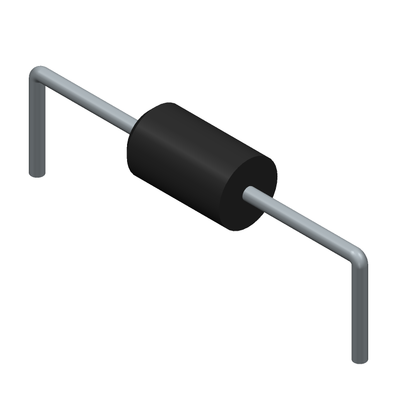 STMicroelectronics 1.5KE100A (Diodes, Axial Diameter Horizontal Mounting) 3D model isometric projection.