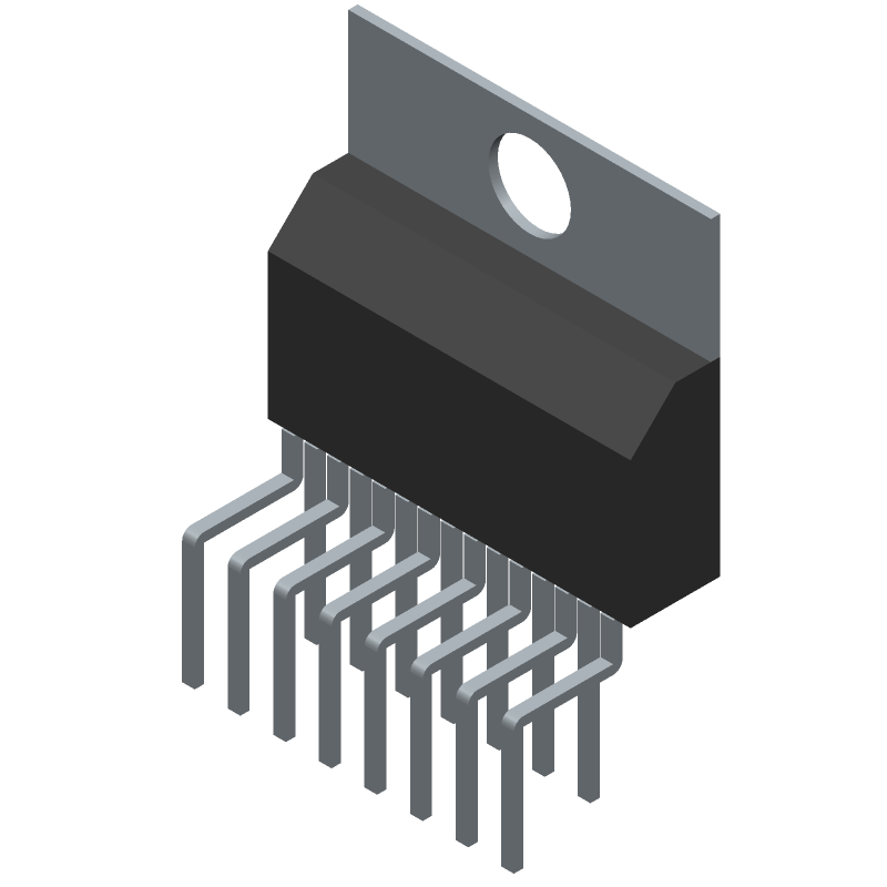 STMicroelectronics L298N (Transistor Outline, Vertical) 3D model isometric projection.
