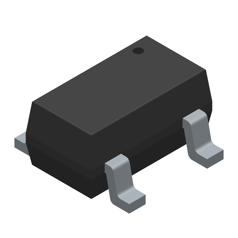STMicroelectronics LD3985M33R (SOT23 (5-Pin)) 3D model isometric projection.