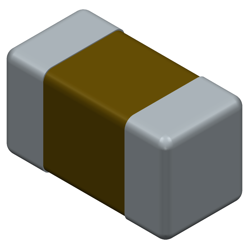 Murata Electronics GRM155C80G106ME44D (Capacitor Chip Non-polarised) 3D model isometric projection.