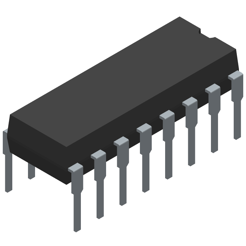 ON Semiconductor SG3525ANG (Dual-In-Line Packages) 3D model isometric projection.