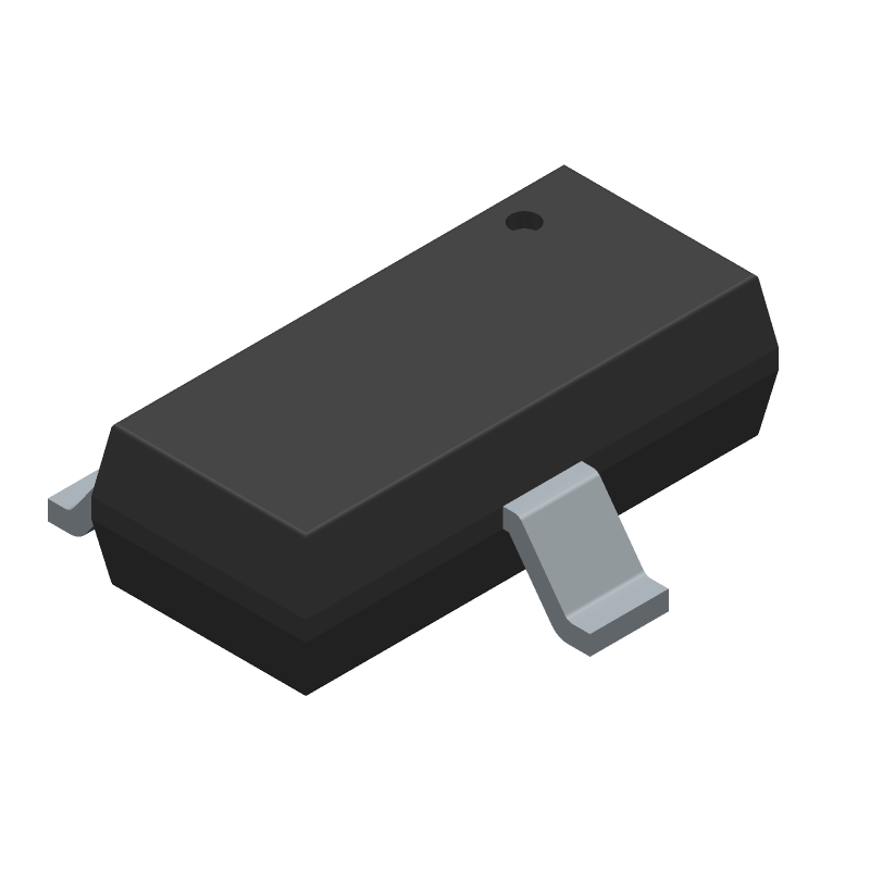 ON Semiconductor MMBT3904 (SOT23 (3-Pin)) 3D model isometric projection.