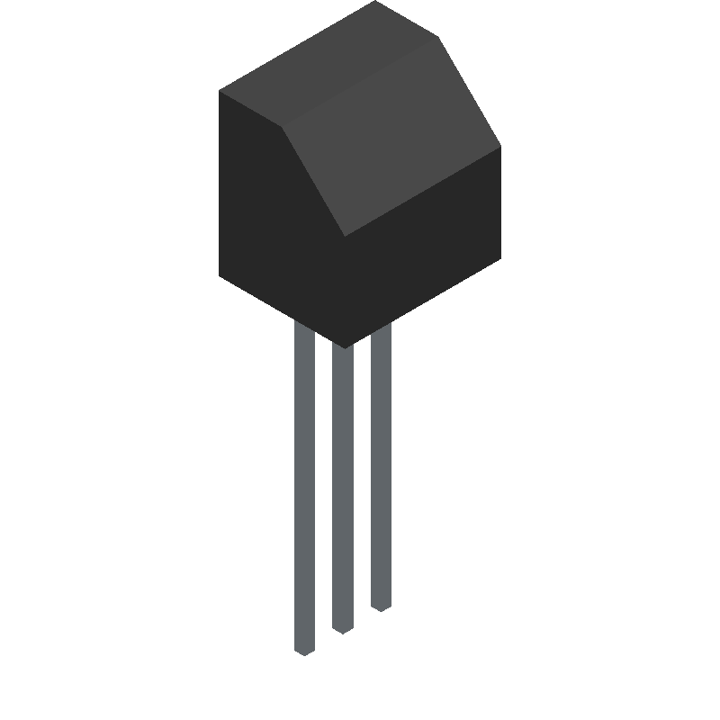 NTE ELECTRONICS 2N3904 (Transistor Outline, Vertical) 3D model isometric projection.
