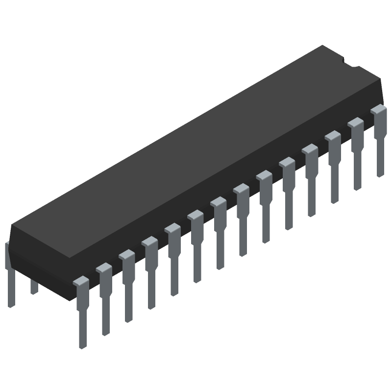 Microchip PIC18F2550-I/SP (Dual-In-Line Packages) 3D model isometric projection.