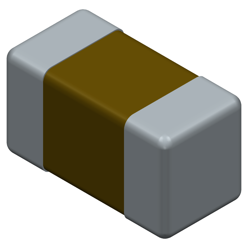 AVX 02013A101JAT2A (Capacitor Chip Non-polarised) 3D model isometric projection.
