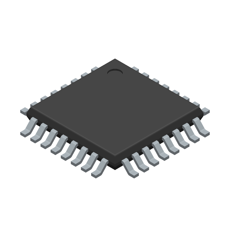 Microchip ATMEGA8A-AU (Quad Flat Packages) 3D model isometric projection.