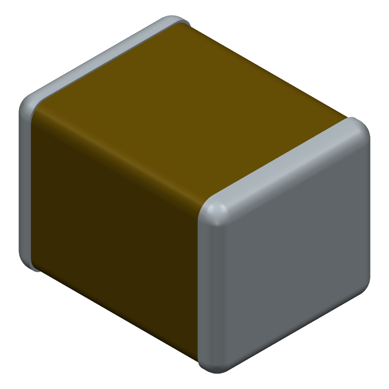 TDK C3225C0G1H104J250AA (Capacitor Chip Non-polarised) 3D model isometric projection.