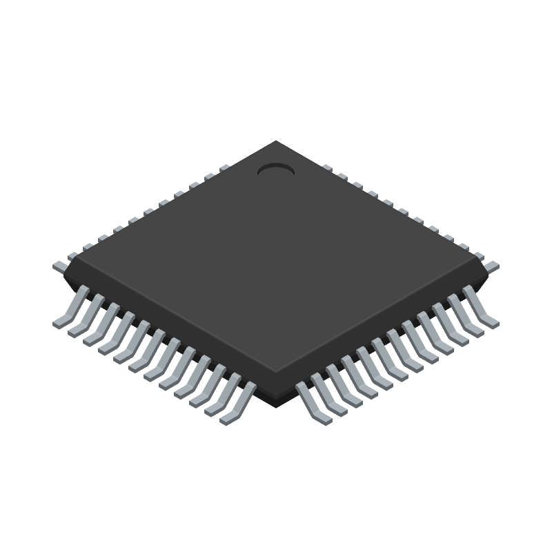 Microchip ATSAMD21G18A-AUT (Quad Flat Packages) 3D model isometric projection.