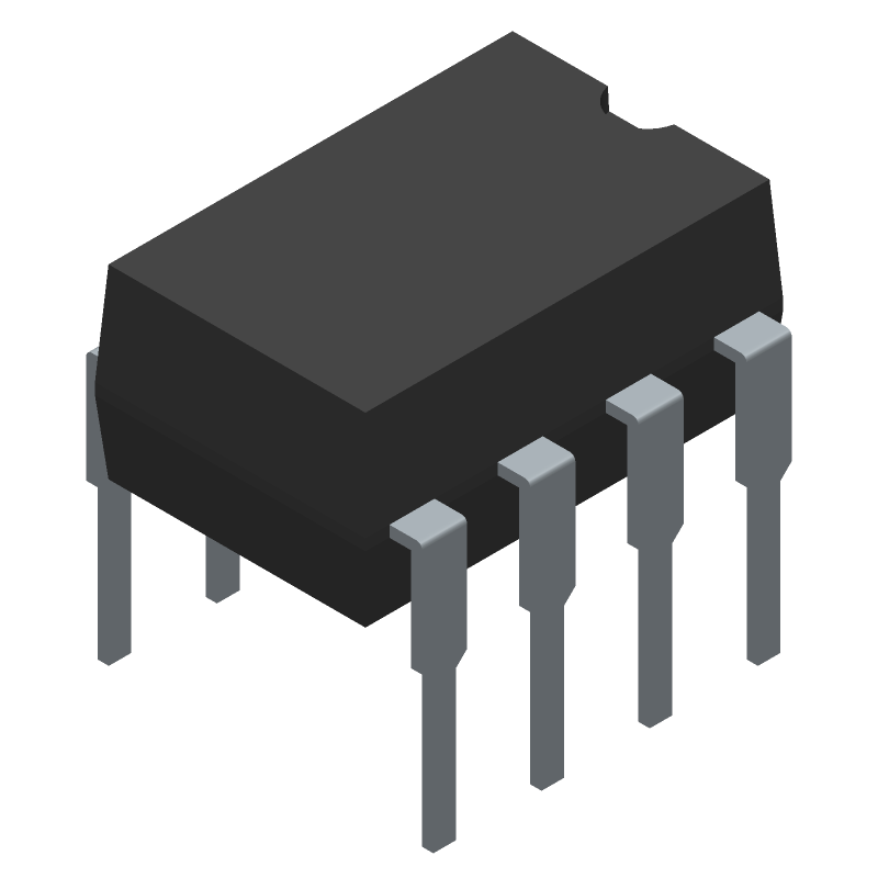 ON Semiconductor LM393N (Dual-In-Line Packages) 3D model isometric projection.