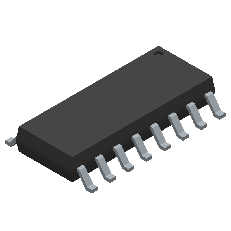 Texas Instruments CD4017BM96 (Small Outline Packages) 3D model isometric projection.