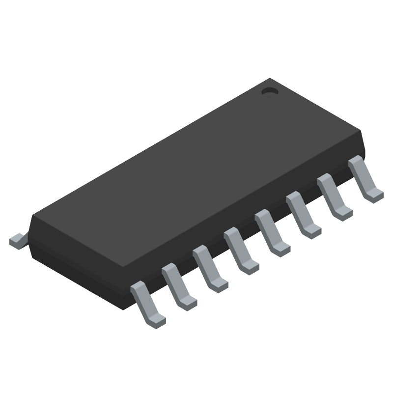 Texas Instruments CD4009UBM (Small Outline Packages) 3D model isometric projection.