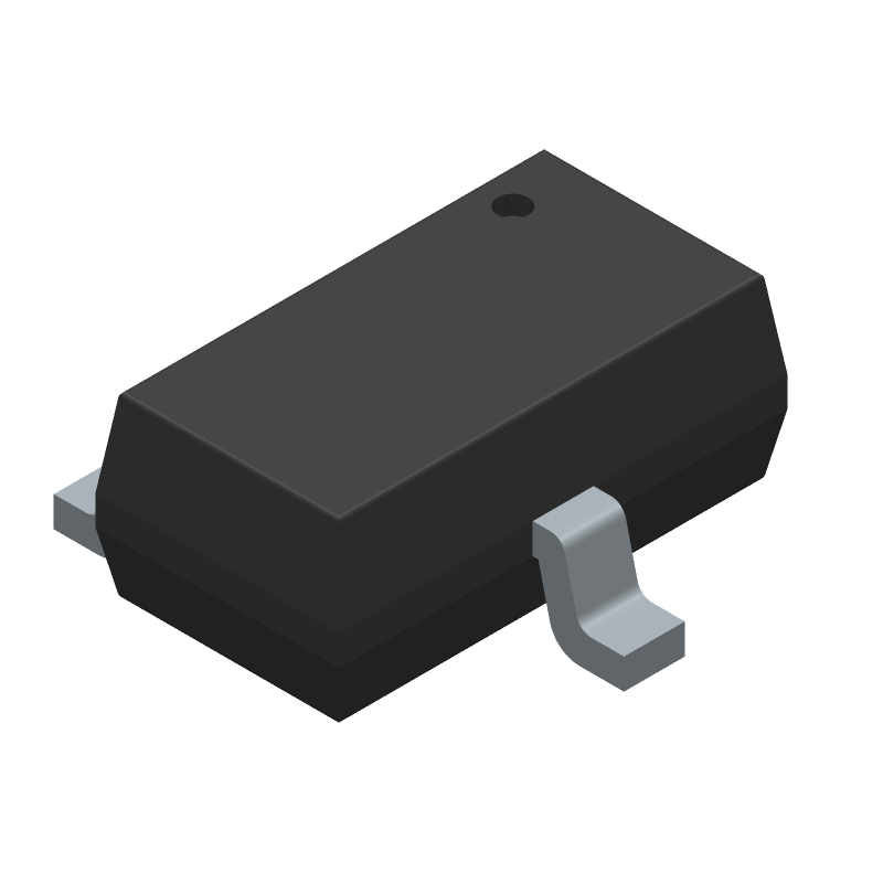 Alpha & Omega Semiconductors AO3401A (SOT23 (3-Pin)) 3D model isometric projection.
