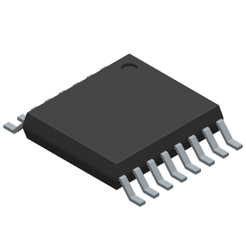 Texas Instruments CD4017BPWR (Small Outline Packages) 3D model isometric projection.