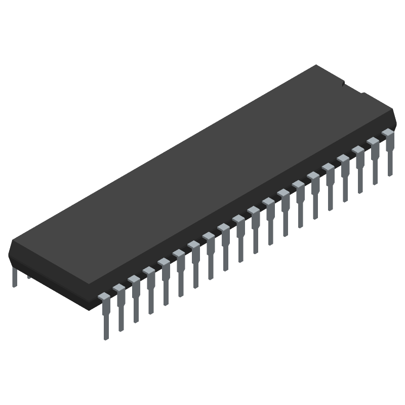 Microchip ATMEGA32A-PU (Dual-In-Line Packages) 3D model isometric projection.