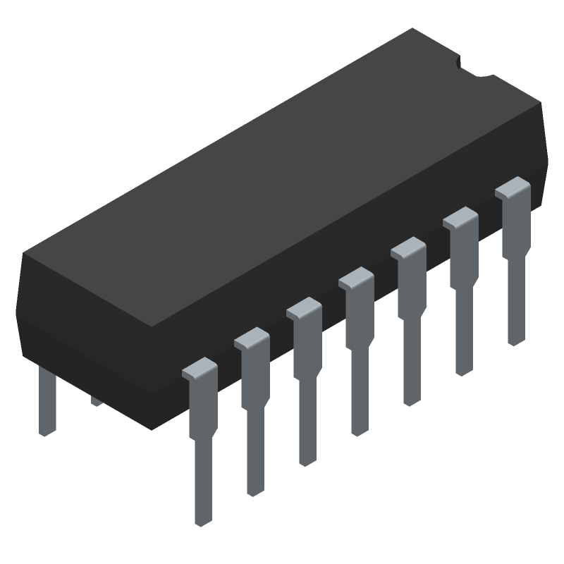 Infineon IR2110PBF (Dual-In-Line Packages) 3D model isometric projection.