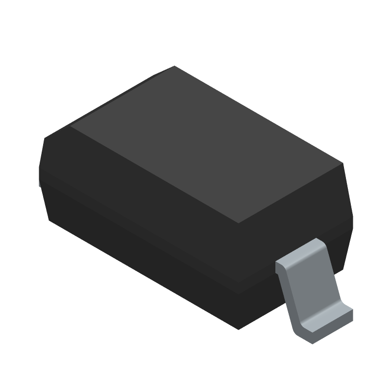 Vishay 1N4148W-E3-18 (Small Outline Diode) 3D model isometric projection.