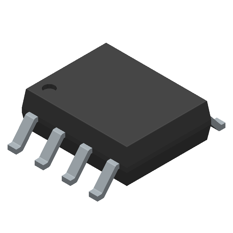 ON Semiconductor LM741CM (Small Outline Packages) 3D model isometric projection.