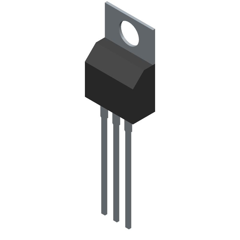 ON Semiconductor LM7805CT (Transistor Outline, Vertical) 3D model isometric projection.