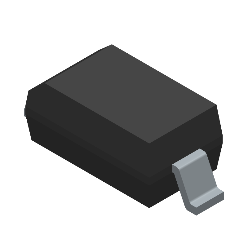 ON Semiconductor MBR0520L (Small Outline Diode) 3D model isometric projection.