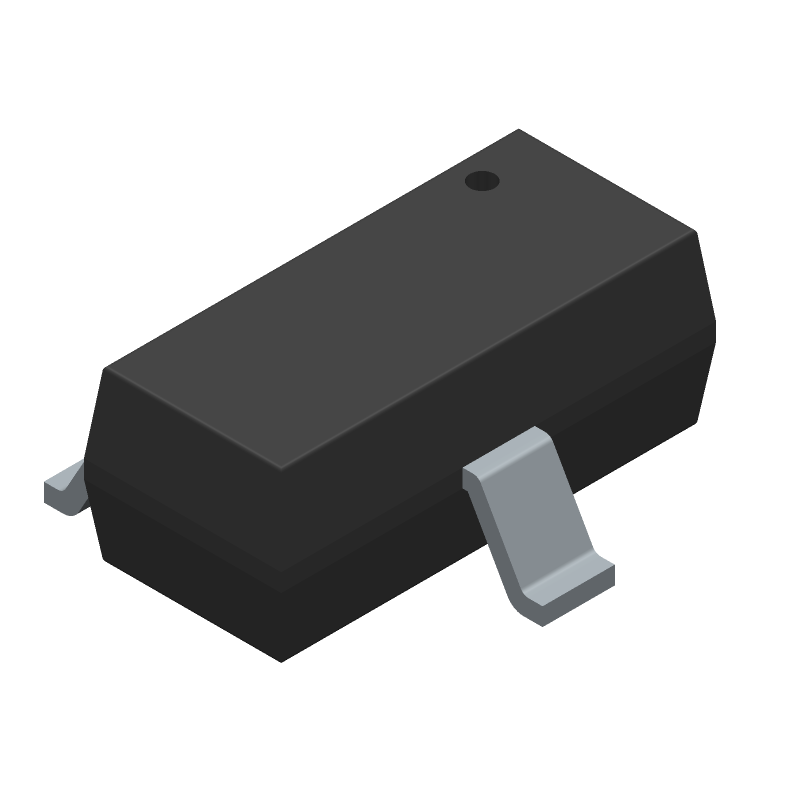 ON Semiconductor MMBT2222A (SOT23 (3-Pin)) 3D model isometric projection.