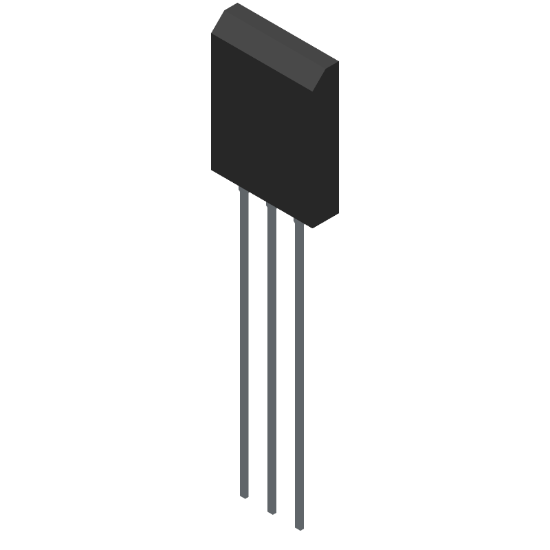 ON Semiconductor 2SC5200OTU (Transistor Outline, Vertical) 3D model isometric projection.