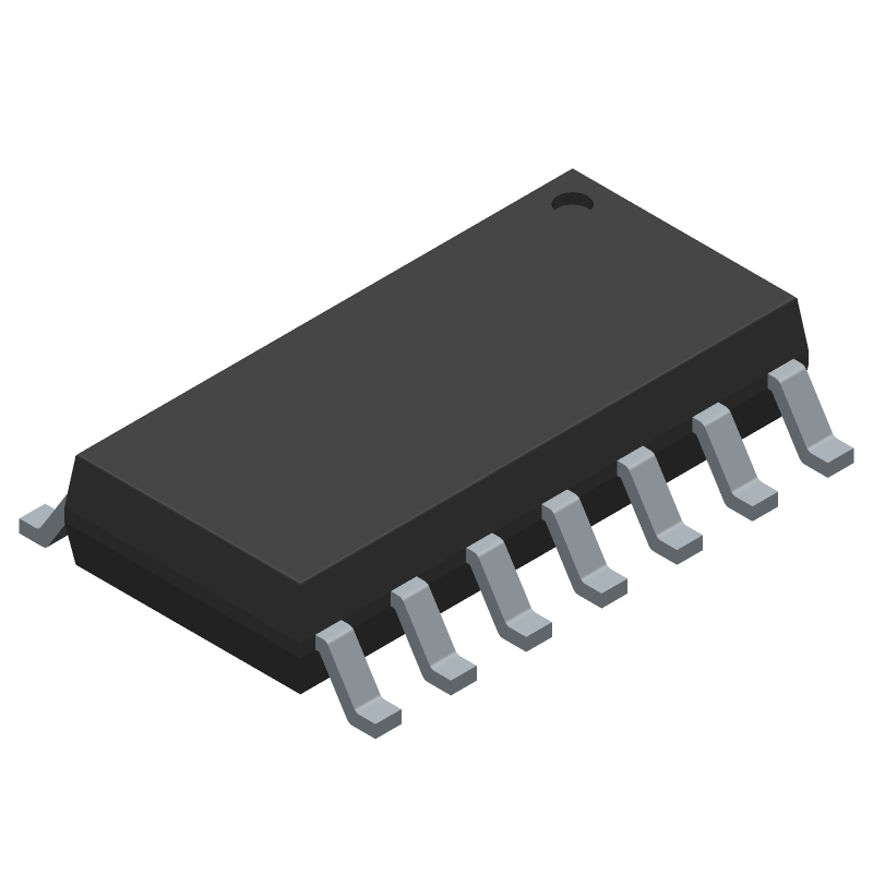 ON Semiconductor LM324AMX (Small Outline Packages) 3D model isometric projection.